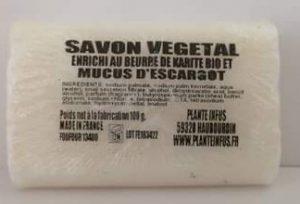 SAVON VEGETAL ENRICHI AU BEURRE DE KARITE BIO ET MUCUS D'ESCARGOT